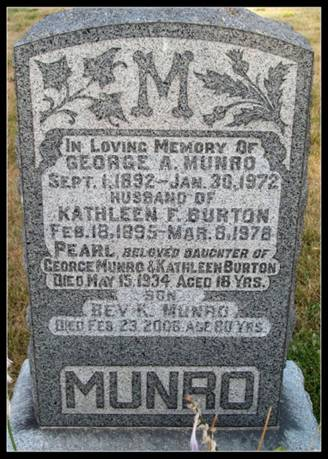 Grave stone for Munro family