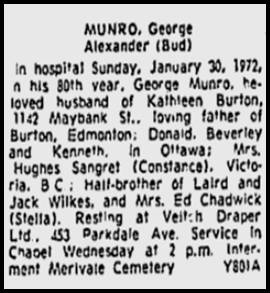 Obituary for George Munro