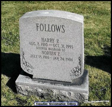 Grave stone for Harry Follows and Noreen Burton