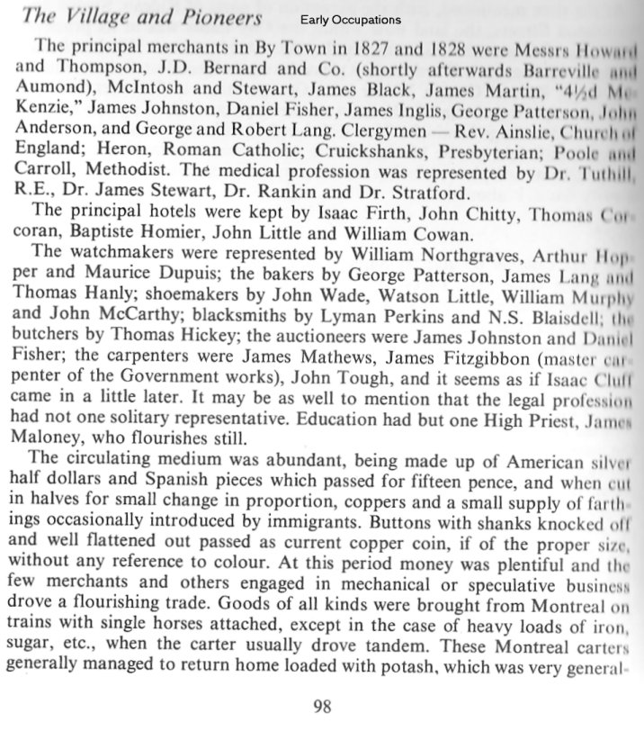 Pioneer Businessmen in Bytown in 1828 (Ottawa, Canada)