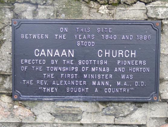 Canaan Church built by pioneers from Scotland to serve Horton and McNab Townships in Renfrew County after 1840