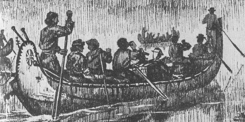 Birch Bark Canoe Flotilla on the French River