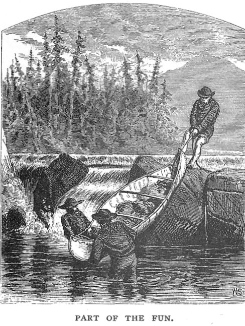 Portaging a birch bark canoe down the middle of the rapids, Canada, c. 1900