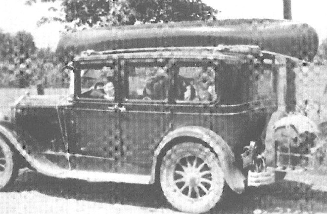 Canoe on Racks on 1928 McGlaughin Buick