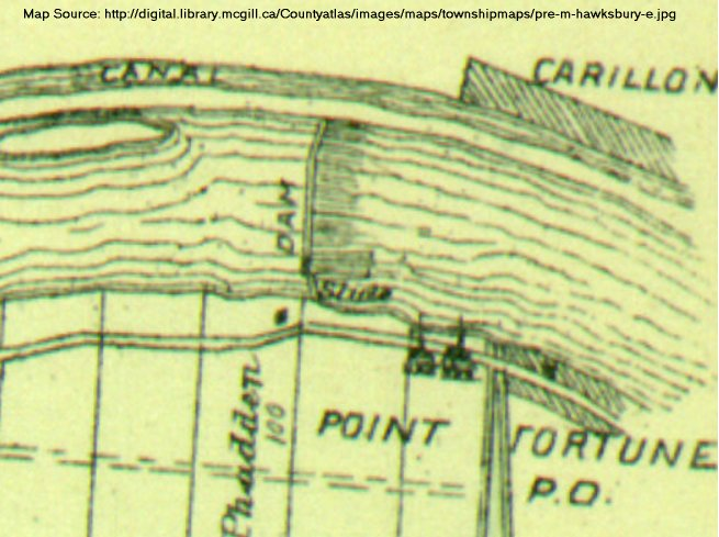 Carillon Dam, Ottawa River, 1879 map
