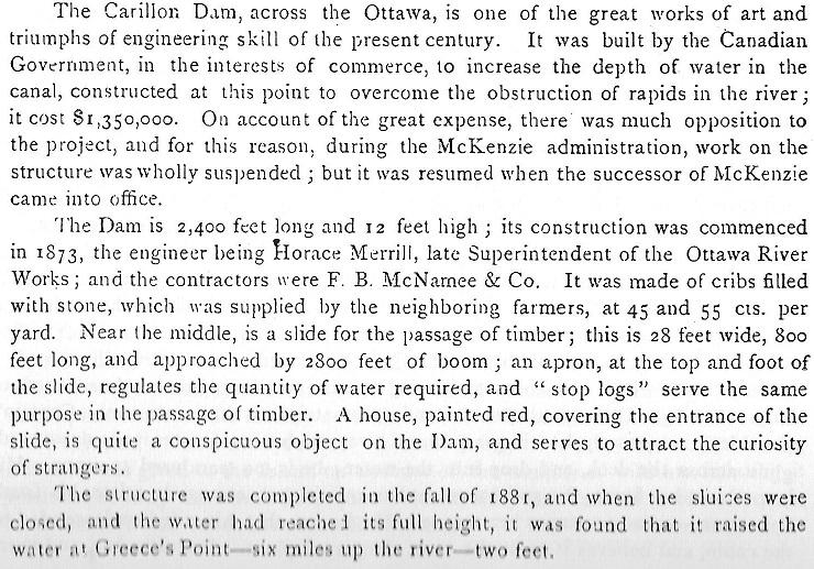 Carillon Dam, Ottawa River, Text Block