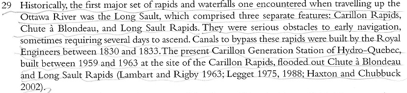 Text Block about the creation of the Carillon dam from 1830