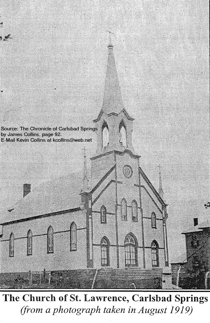 Carlsbad Springs, Ontario, Canada, Church of St. Lawrence in 1919