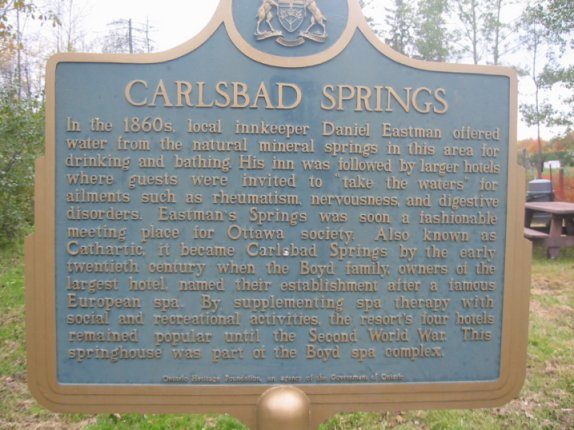 Carlsbad Springs, Ontario, Canada, English Plaque