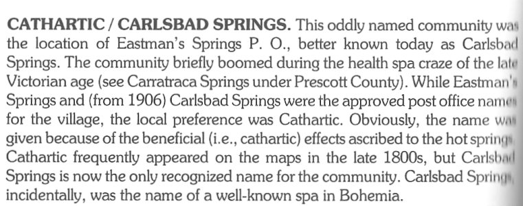 Carlsbad Springs, Ontario, Canada, Origin of the name