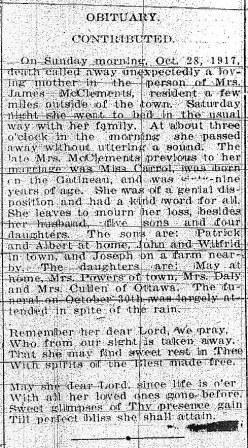 Julia Carroll, Obituary 1917