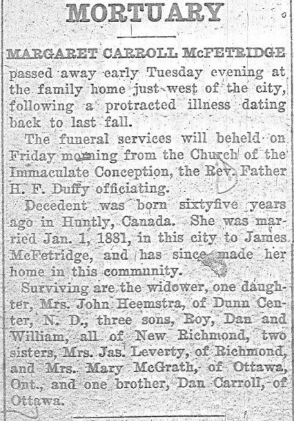 Death Notice, Margarett Carroll McFetridge
