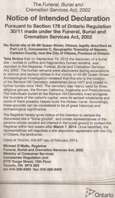 Update on early cemetery on Queen Street in Ottawa, Canada