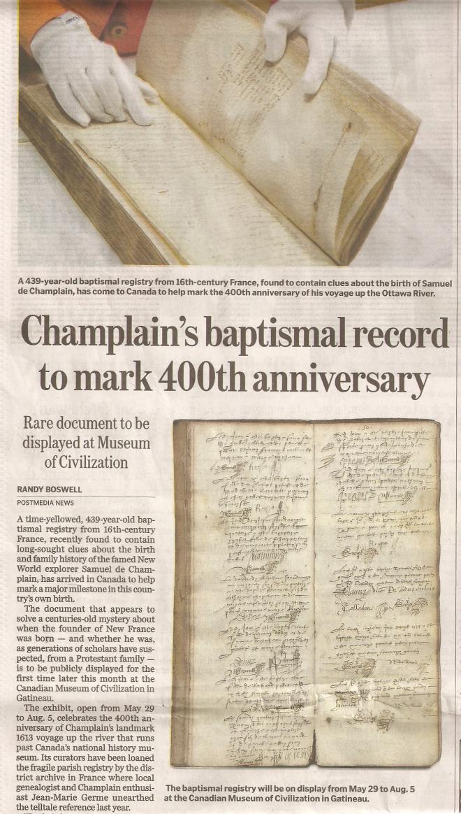 Birth Certificate of Samuel de Champlain