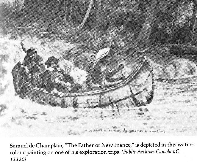 Samuel de Champlain shooting rapids in birch bark canoe