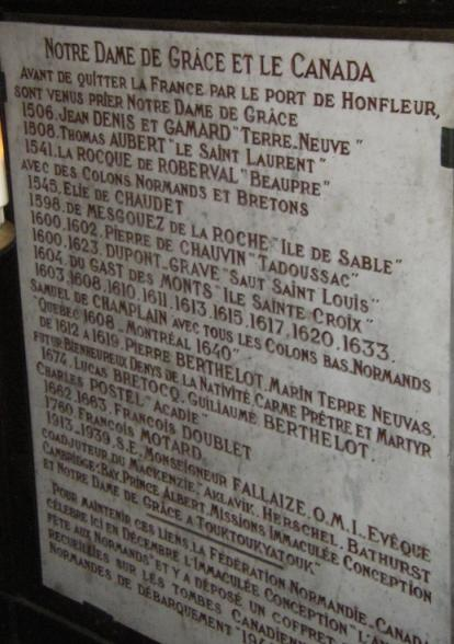 Plaque in Honfleur, France commemorating Samuel de Champlain