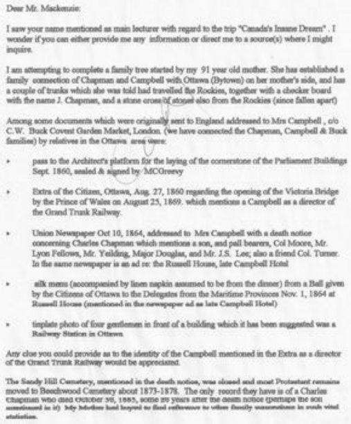 Letter regarding Mr. Charles Chapman