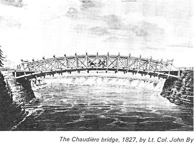 Chaudiere Bridge, Ottawa, Canada, in 1827