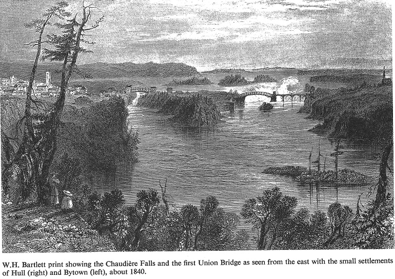 Union Bridge at Chaudiere Falls, c. 1840