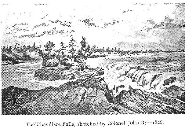 Drawing of the Chaudiere Falls by Colonel John By in 1826