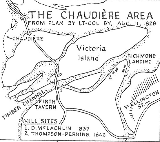 Chaudiere Falls area in 1828, map by Colonel By, Oyttawa, Canada