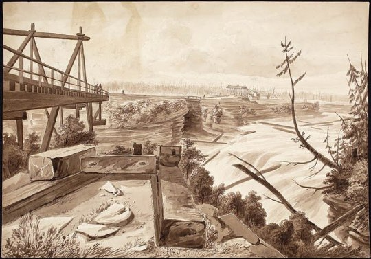Chaudiere Falls, 1826 drawing by James Pattison Cockburn