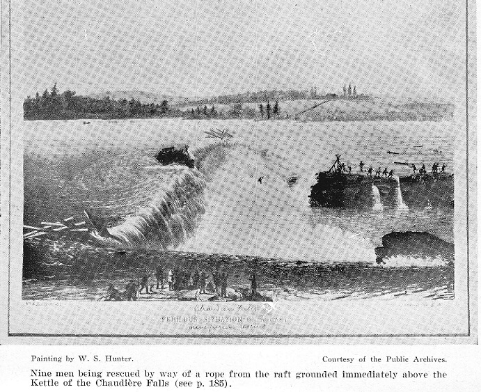 Rescue of 8 men at the Chaudiere Falls on Aug.22, 1854