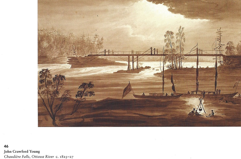 Bridge Over Chaudiere Falls, Sepia, c. 1825-27