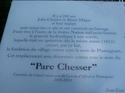 Chesser Park Memorial Plaque, Plantagenet Village, Ontario, Canada,