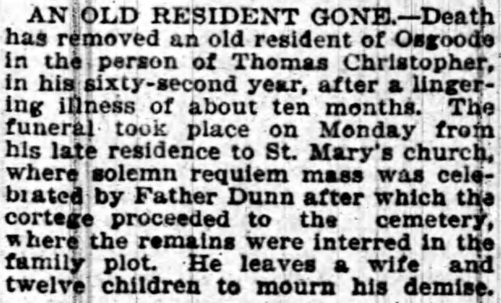 Thomas CHRISTOPHER obituary, January 16, 1899
