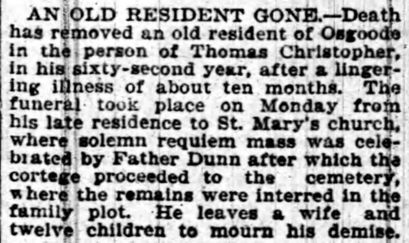 Obituary, Thomas CHRISTOPHER, 1899