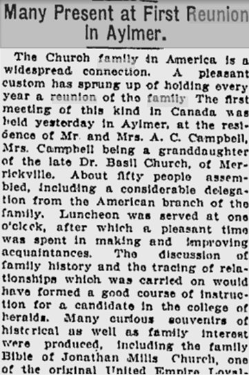 Church Family Reunion in 1910, Aylmer, Quebec