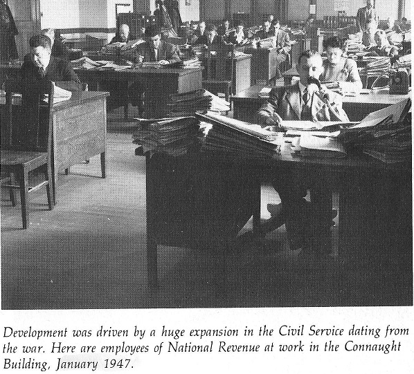 Revenue Canada workers in the Connaught Building, 1947