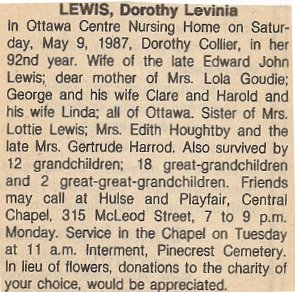 Dorothy Collier Lewis, Obituary