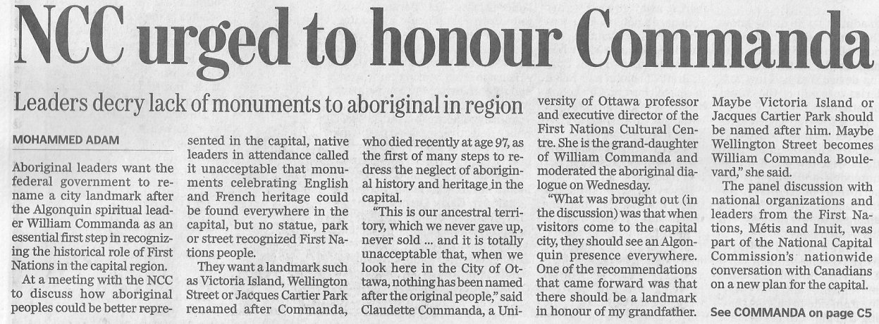 Proposal to Honour William Commanda, Algonquin Nation, 2011