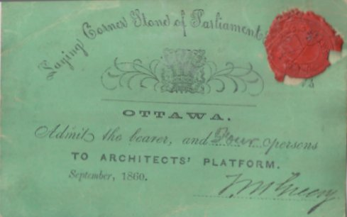 Invitation to laying of the Cornerstone of the Parliament Buildings, Ottawa, Canada, 1860