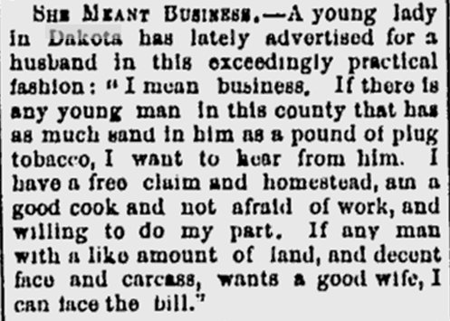 Newspaper Advertisement for a Spouse in North Dakota in 1882