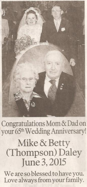Congratulations to Michael and Betty DALEY