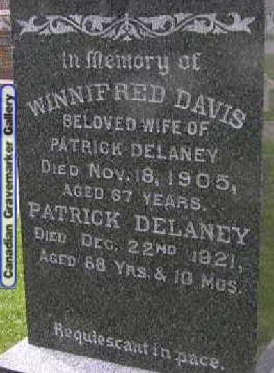 Patrick Delaney and Winnifred Davis Tombstone, Nepean County, Ontario, Canada (now City of Ottawa)
