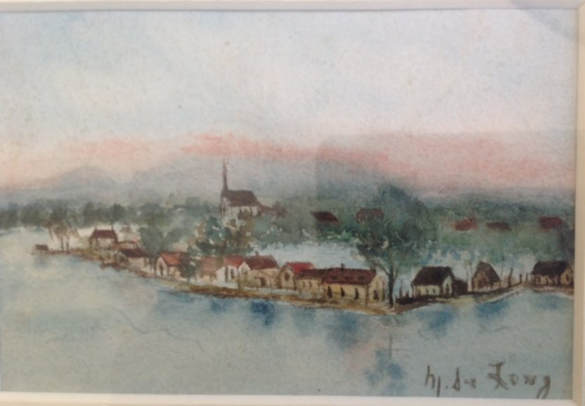 1895 watercolour of Gatineau Pointe, by M. de Long