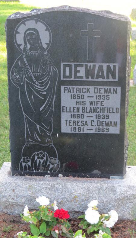 Tombstone of Patrick Dewan and Ellen Blanchfield