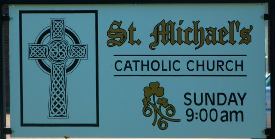 Sign for St. Michael's Catholic Church, Douglas, Ontario