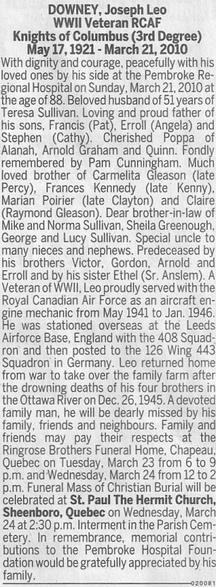 Obituary for Joseph Leo Downey, March 23, 2010