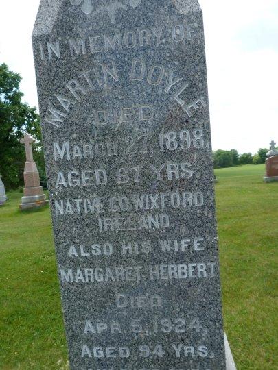 Martin Doyle Tombstone, Wexford to Osgoode Township, Ontario, Canada