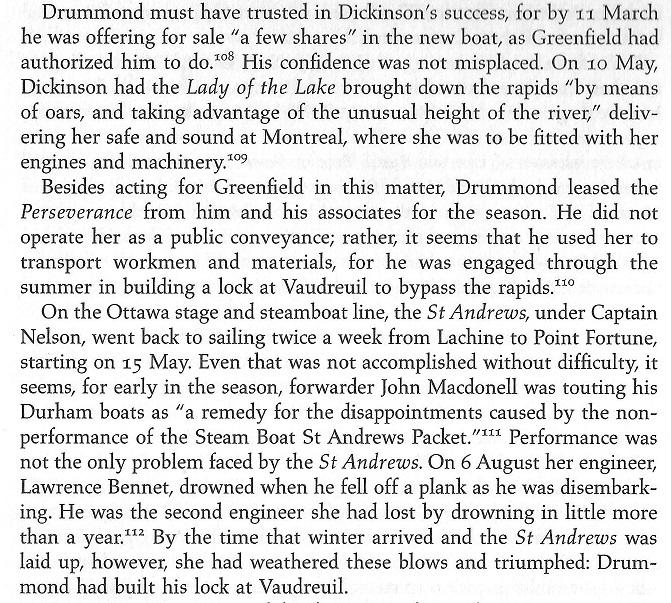 Robert Drummond  builds the Vaudreuil Lock