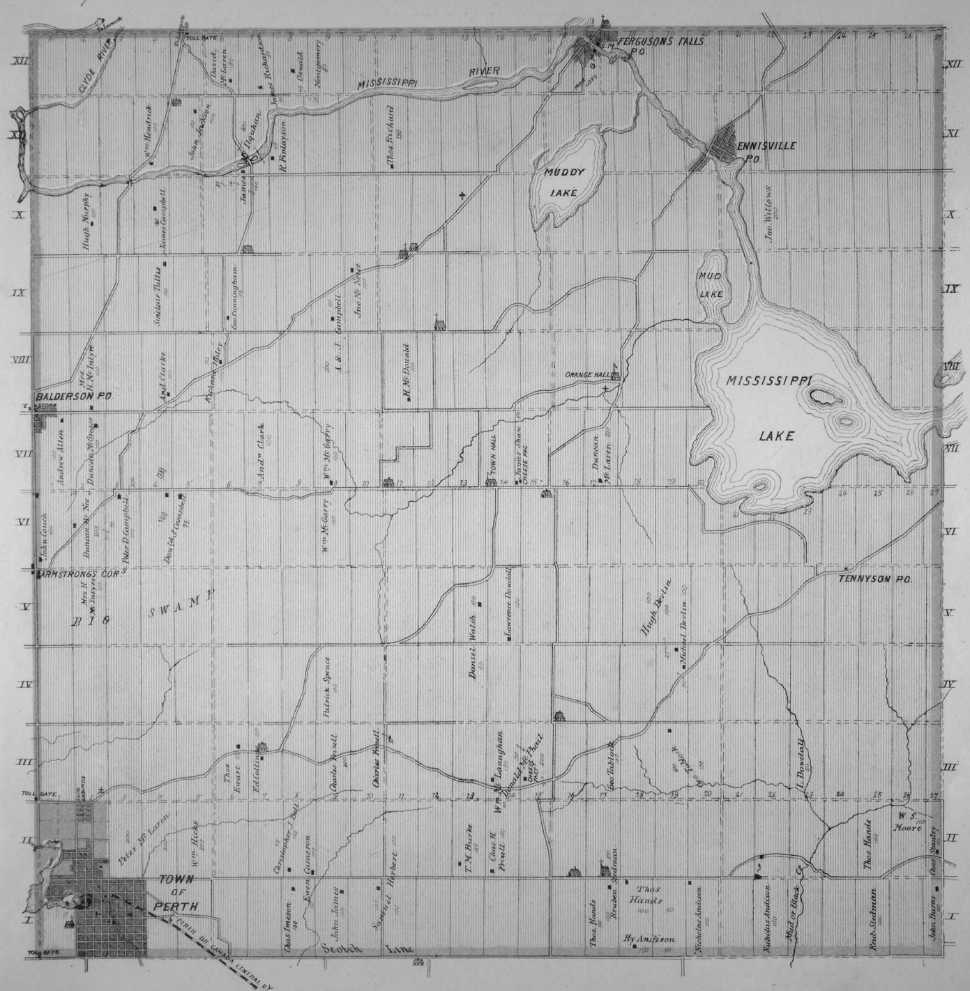 Map of Drummond Township, Lanark County, Ontario, Canada, in 1879