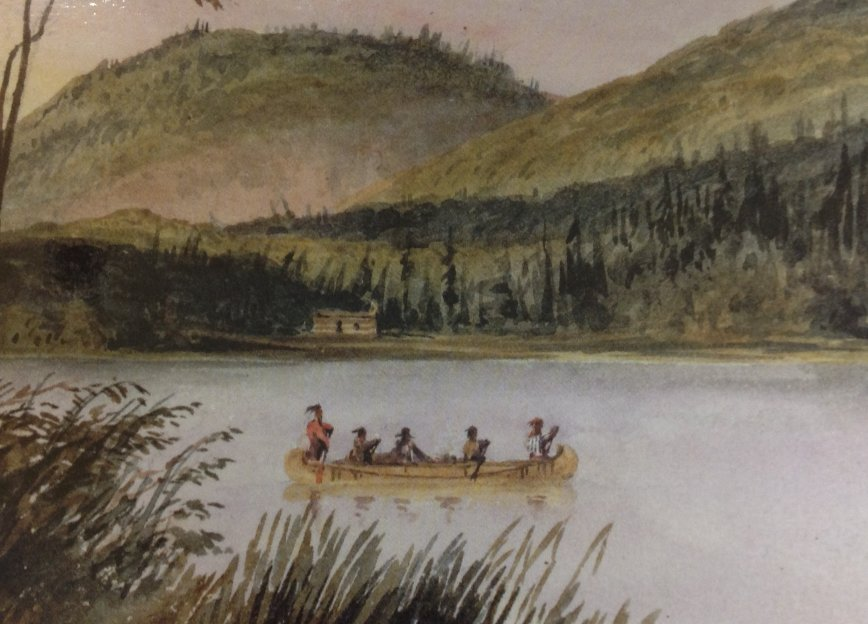 Painting at Des Joachims, Ottawa River, by Bainbrigge, 1840's