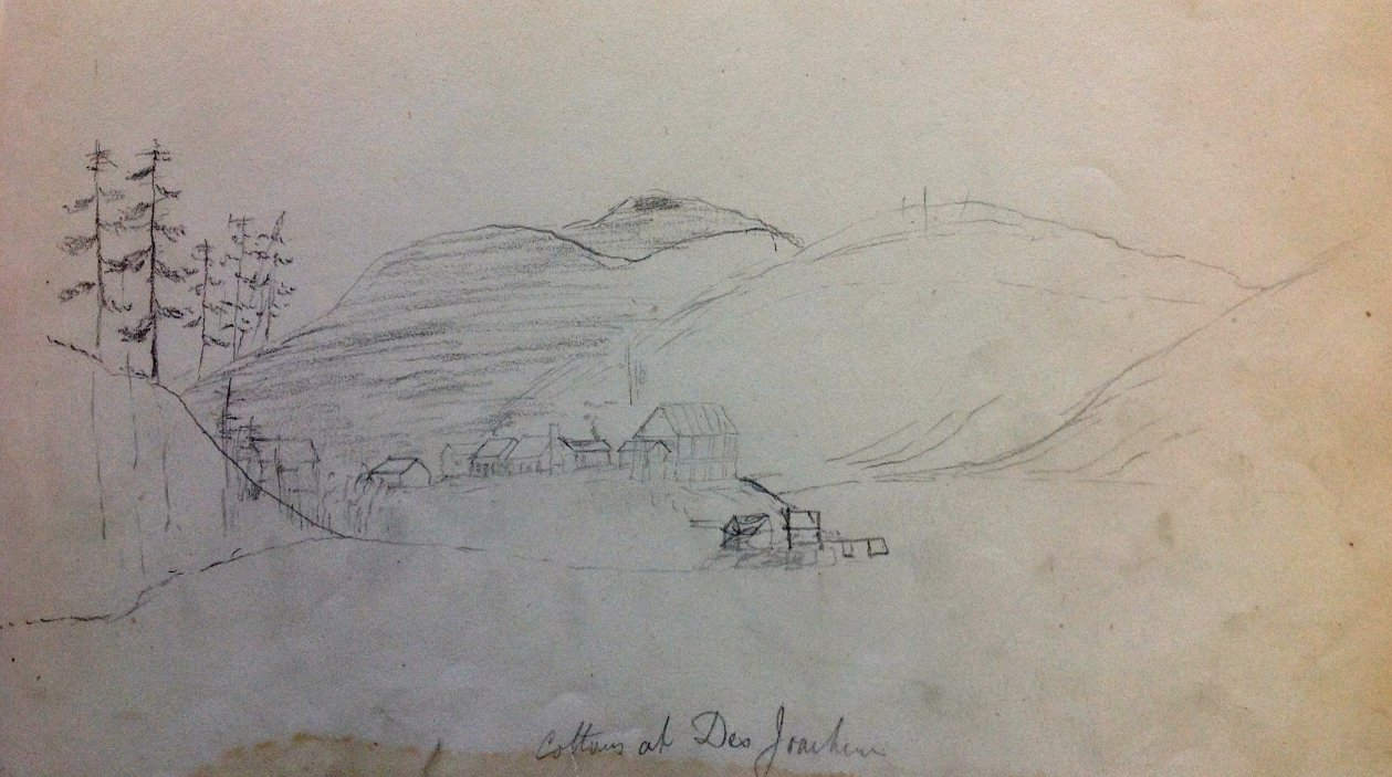 Sketch at Des Joachims, Ottawa River, by Bainbrigge, 1840's