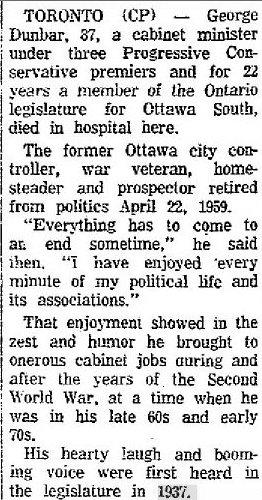 George Dunbar Newspaper Clipping 1