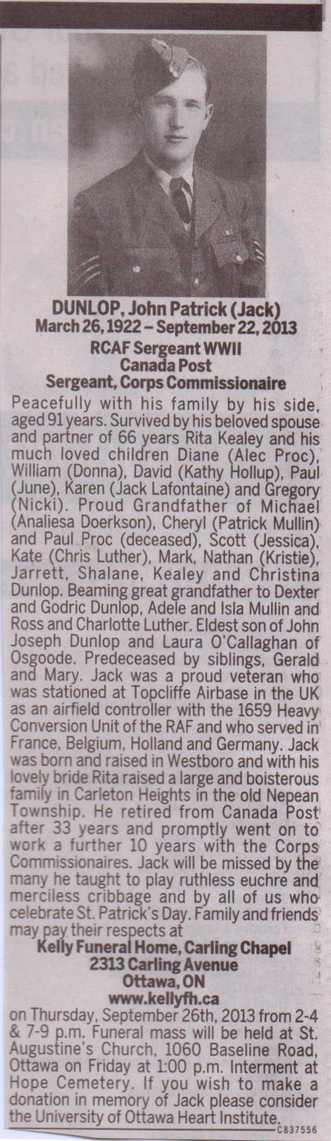 Obituary for Mr. John (Jack) Dunlop
